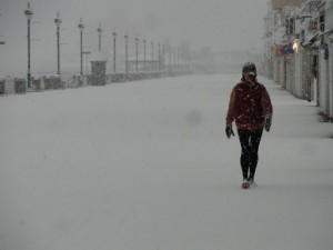 Walking the boards at Ninth Street on Wednesday, Jan. 21, in Ocean City, NJ.