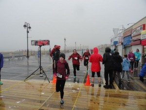 Heavy rain, a steady ocean breeze and cold March air didn't stop hundreds of runners from participating in a Pi Day Run on Saturday on the Ocean City Boardwalk.