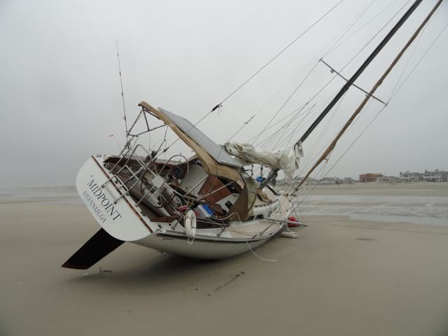 Beached sailboat in Ocean City, NJ