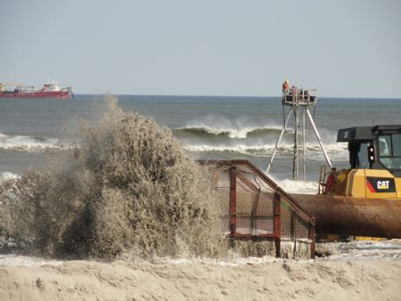 Beach replenishment update new elevation showing at 41st for Ocean city nj surf fishing report