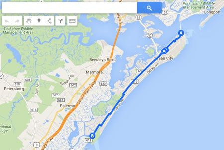 Ocean City Bicycle Route Map in Ocean City NJ