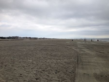 The new beach at 58th Street measures 281 yards from bulkhead to water line.