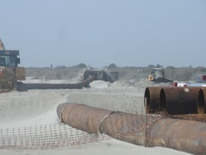 Crews are working beyond 59th Street to create a buffer zone to protect the southernmost houses in Ocean City.
