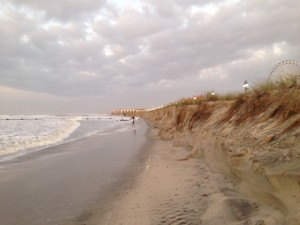 A week of northeast swell eats into the dunes at Fifth Street in Ocean City by Monday, Sept. 28.