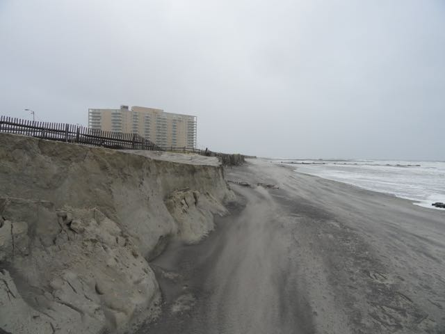 A relentless northeast swell carved into the dunes between Fourth and Sixth streets in Ocean City, NJ, in an early October 2015 gale.