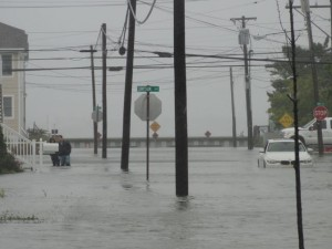 An abandoned car sits in the middle of Fourth Street on Oct. 3 as a northeast gale continued to cause exceptionally high tides and street flooding in Ocean City.