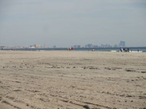 A healthy hike remains for beach visitors to reach the ocean's edge at rebuilt beaches between 37th Street and 59th Street in Ocean City, NJ.
