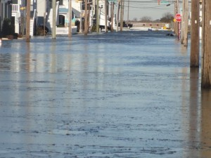 Flood waters still cover most bayside streets on Sunday morning.
