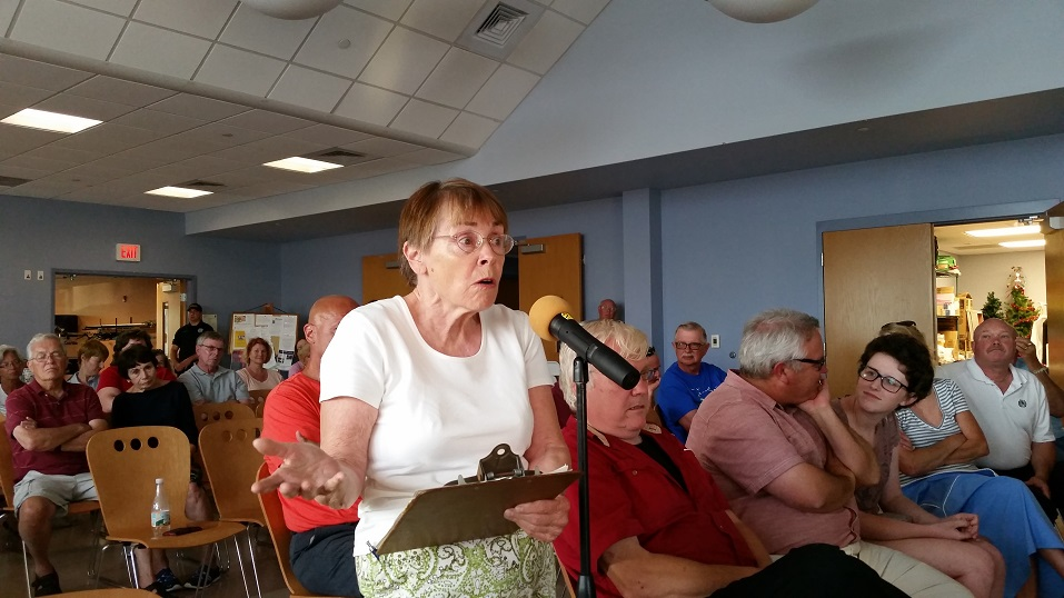 """Lynne Pancoast, a resident of Simpson Avenue, said the proposed housing project would gobble up an """"oasis"""" of open space in the neighborhood."""