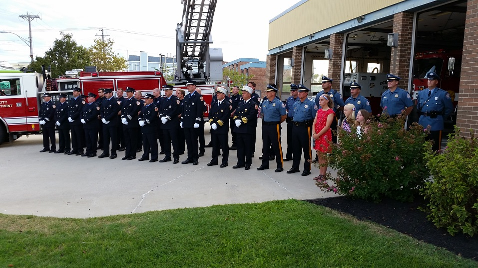 Ocean City firefighters, police officers and other emergency responders stood at attention.