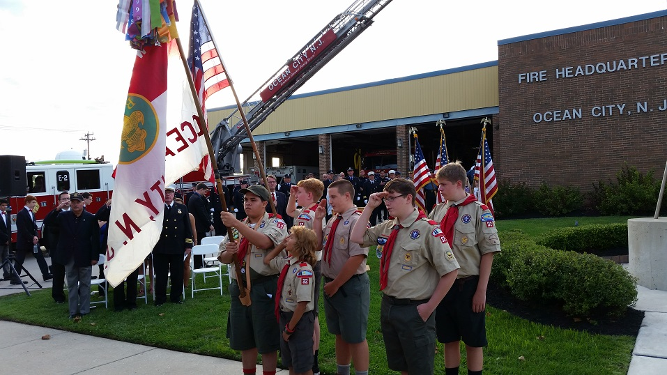 Flag-bearing members of the Ocean City Boy Scouts Troop 32 presented the colors.