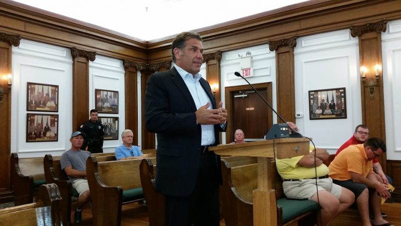 Keller Williams owner Paul Chiolo, pictured while addressing City Council over the summer, says his proposed office project will help to beautify the Ninth Street corridor.