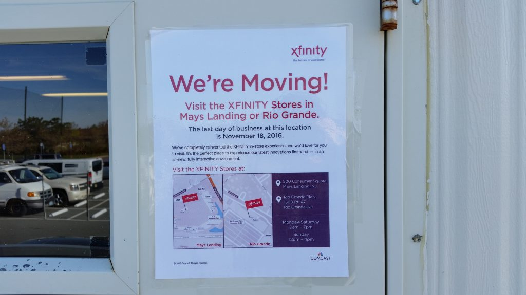 A notice taped to the door tells customers that the center will close on Nov. 18.
