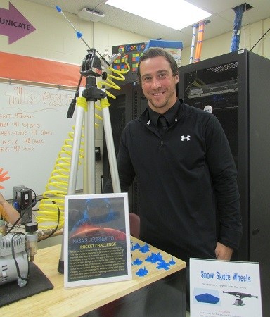 Randall Kohr, Ocean City Primary School OC Tech Lab teacher, stands with the rocket launcher his students will use to test their creations for NASA's Journey to Mars Rocket Challenge.