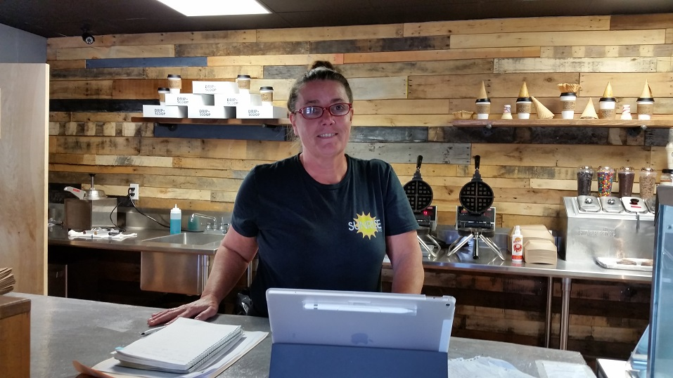 Sharon Idell, owner of the Drip N' Scoop shop on Asbury Avenue, which hosted Coffee With Cops, said the event draws a good response from her customers.
