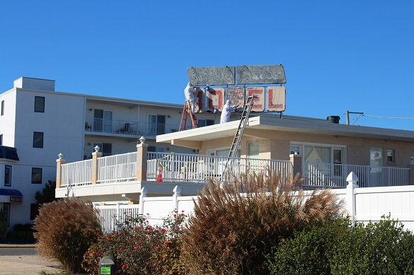 The street view of the Sifting Sands Motel, which is undergoing major repairs and beautification.