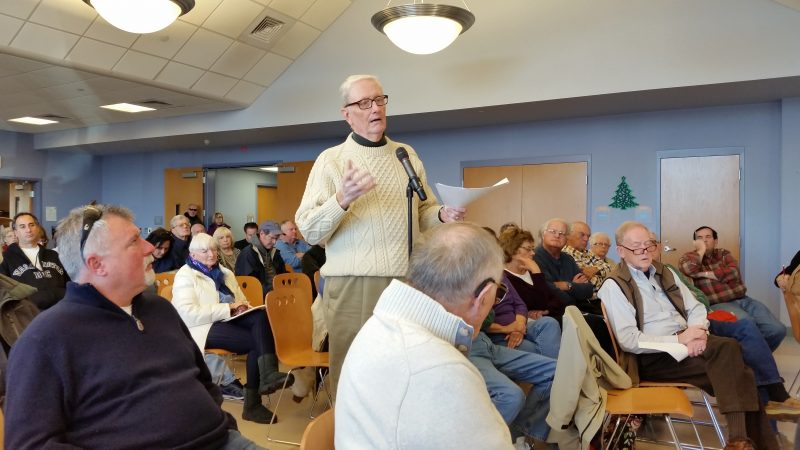 Jack Gallagher, president of the Ocean Reef Condominium Association, speaks out in opposition to the plan.