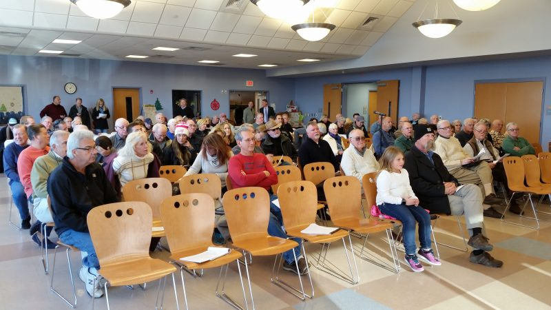 The public meeting drew about 100 residents to the Stainton Senior Center.