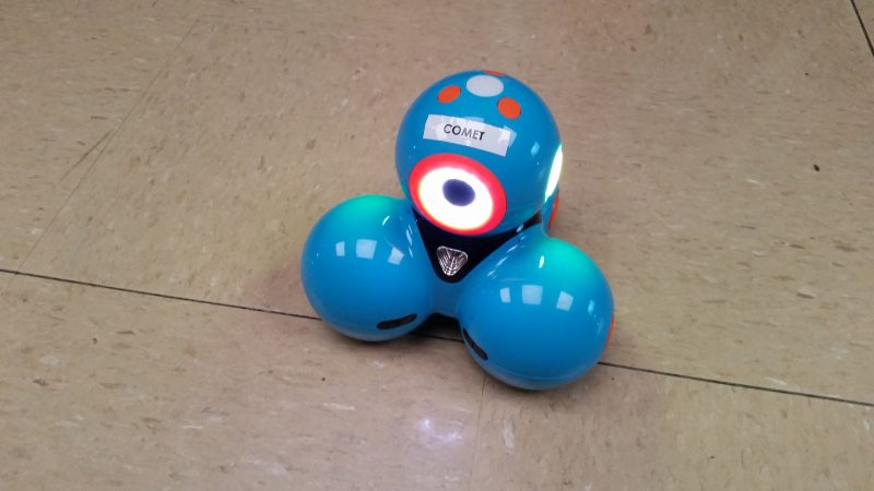 One of eight tiny robots that help introduce students to emerging technologies.