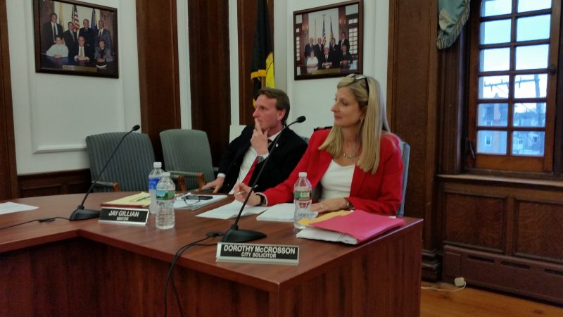 The city is looking to prevent offensive words or drawings, according to Solicitor Dorothy McCrosson, seated next to Mayor Jay Gillian.