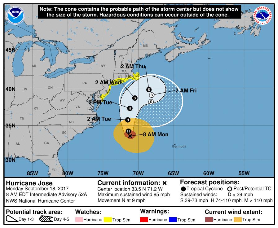 Hurricane Jose continues North, Maria might reach Bahamas